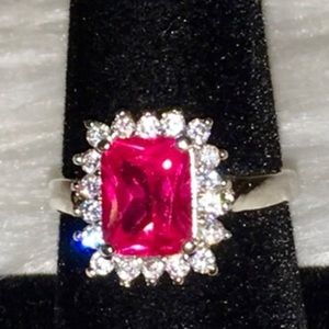 Jewelry - NWOT White Topaz, Sterling Silver Plated gem ring